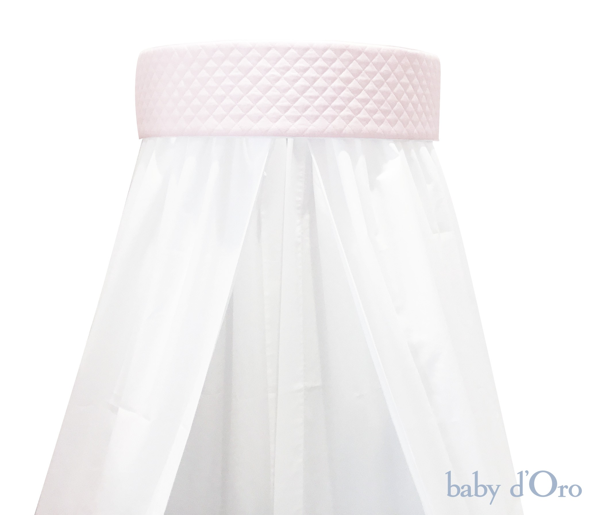 White Wall Canopy Pink Panel Baby D Oro