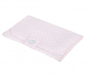 Quilted pink baby changing mat