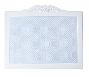 Blue board with white decorative frame