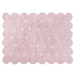 Pink biscuit rug with white dots