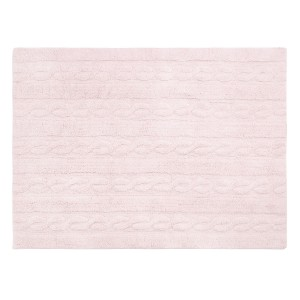 Pink rug with a plait motif