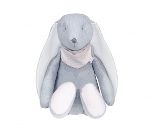 Decorative bunny - grey tiny checkered with pink handkerchief