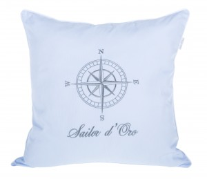 Blue pillow Sailor d'Oro with Wind Rose
