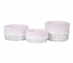 White round wicker basket – small – pink
