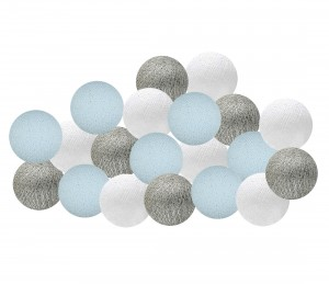 Garland Cotton Ball Lights - blue and silver