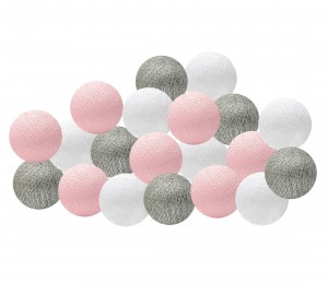 Girlanda Cotton Ball Lights pudrowo - srebrna