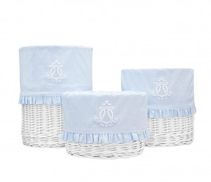 White round basket – big – Cheverny Blue