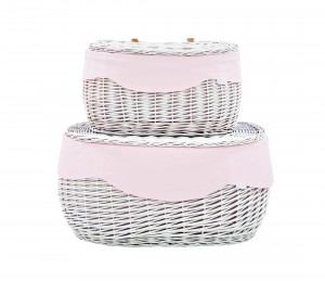 White round wicker trunk – big – pink tiny checkered