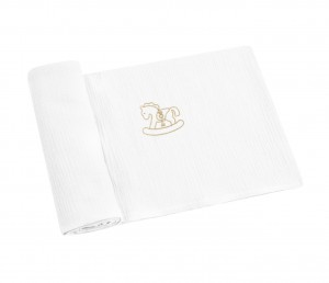 Swaddling blankets with gold rocking horse