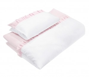 Baby bedding with pink flounces