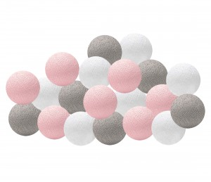 Garland Cotton Ball Lights - pink and grey