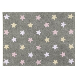 Grey rug with pink, white and yellow stars