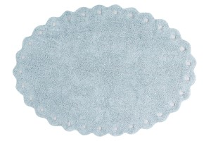 Blue oval cookie rug