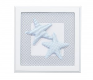 Blue and grey picture with starfishes