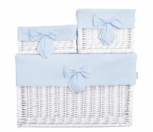 White wicker basket – small – Frenchy Blue