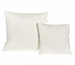 Small beige velour pillow with emblem