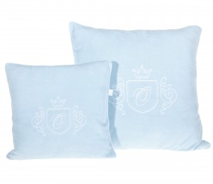 Big blue velour pillow with emblem