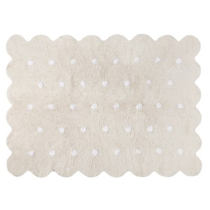 Beige biscuit rug with white dots