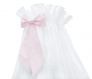 White standing canopy with pink bow