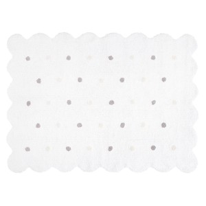 White biscuit rug with beige and grey dots