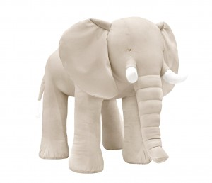 Decorative elephant- velvet beige