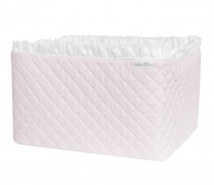 Quilted pink care basket with flounce