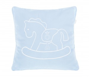 Blue pillow with rocking horse