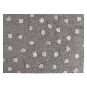 Grey rug with white, yellow and pink dots