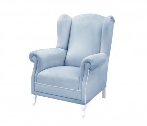 Feeding  armchair- blue velvet