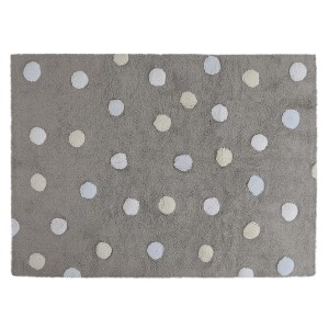 Grey rug with white, yellow and blue dots