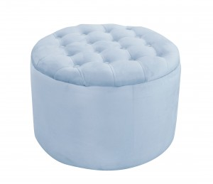 Quilted blue pouf