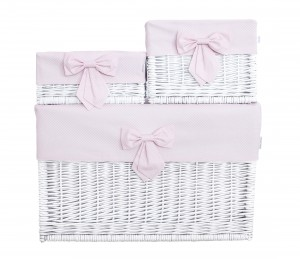 White wicker basket – medium – Frenchy Pink