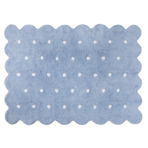 Blue biscuit rug with white dots