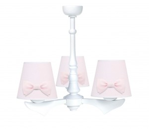Three - armed chandelier with bows - Cheverny Pink