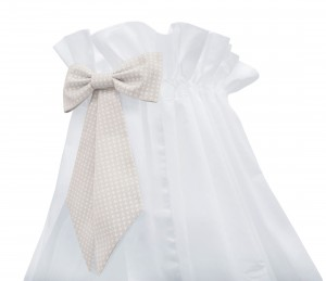 White standing canopy with Cheverny beige bow