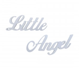 "Hanging lettering stylized ""Little Angel"""