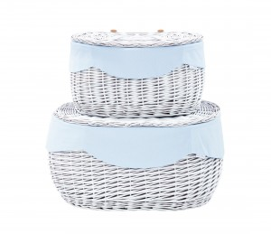 White round wicker trunk – big – blue tiny checkered