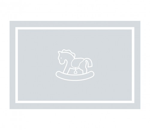 Grey velvet rug with rocking horse
