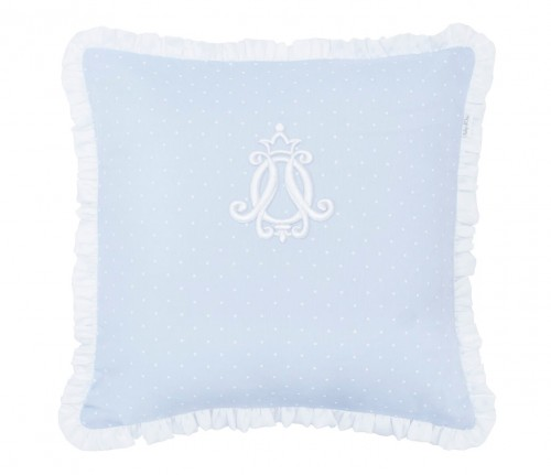 Twilly Dots pillow with flounce - blue