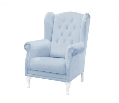 Feeding quilted armchair- blue velvet