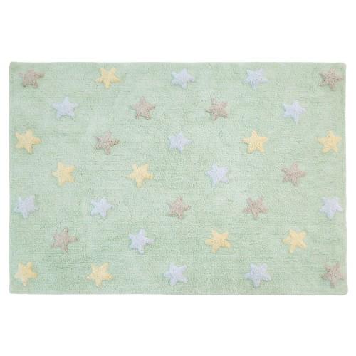 Mint  rug with blue, yellow and grey stars