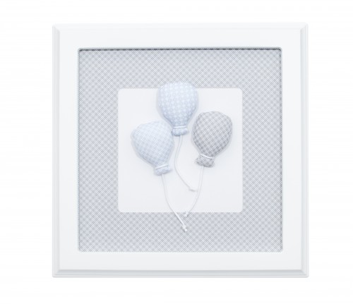 Grey and blue picture with balloons