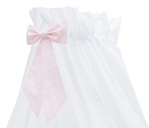 Silver Bright standing canopy with pink bow
