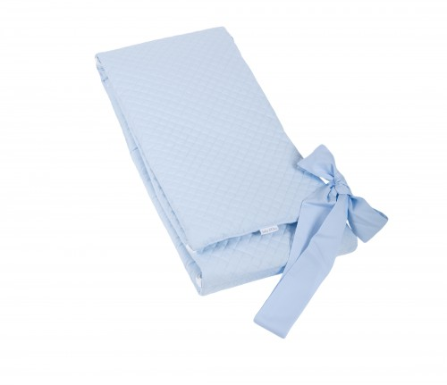 Cot bed bumper - quilted blue