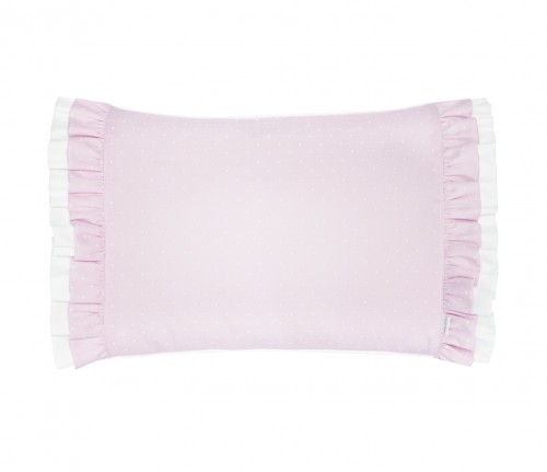 Twilly Dots pillow with double flounce - pink