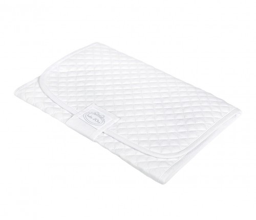 Quilted white baby changing mat