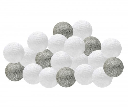 Garland Cotton Ball Lights - white and silver