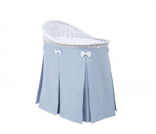 Mobile wicker bed with blue skirt