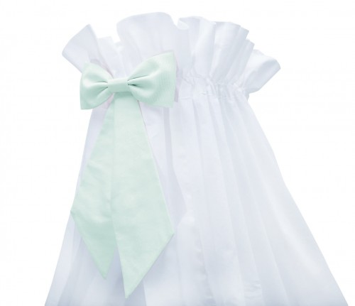 White standing canopy with mint bow