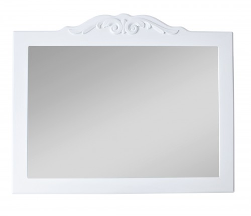 White mirror with decorative frame
